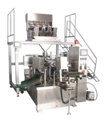 Pouch doypack filling machine with 4 head linear weigher